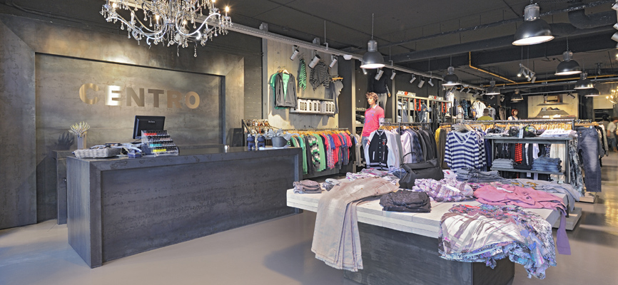 Centro house of jeans by wsb interieurbouw perfect design materialisatie en vorm interieur mode House jeansy