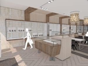 Ontwerp inrichting juwelier Robert den Haag door WSB Interieurbouw